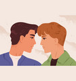 romantic portrait homosexual couple in love vector image vector image