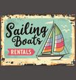 sailing boats rentals retro beach sign vector image