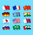 set waving flags icons isolated official vector image vector image