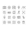 simple set camera thin line icons vector image vector image