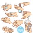Sketch Hands Washing Hygiene Set vector image vector image