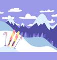ski resort banner panoramic mountains landscape vector image vector image