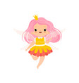 sweet little winged fairy with pink long hair vector image