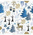 winter forest christmas seamless pattern vector image