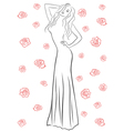 Stylish woman in a long gown among roses vector image