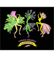 dancing women in carnival costumes of feathers vector image