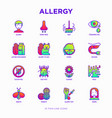 allergy thin line icons set vector image vector image