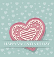 beautiful love card with pink heart cookie vector image vector image
