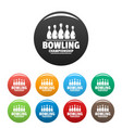 bowling championship icons set color vector image