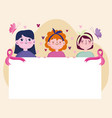 breast cancer cartoon women holds banner vector image vector image
