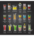 Chalk drawings Set of shot cocktails menu design vector image vector image