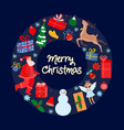 christmas symbols and new year decoration icons vector image