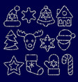 christmas toys set from silver outline sequins vector image vector image