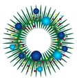 christmas wreath with blue toys vector image