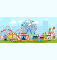 colorful amusement park with merry-go-rounds vector image