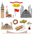 colorful istanbul tourist isolated set vector image vector image