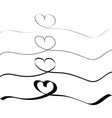 continuous line drawing heart set hearts line vector image
