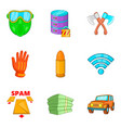 criminal act icons set cartoon style vector image vector image