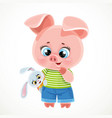 cute cartoon baby piglet with bunny soft toy vector image vector image