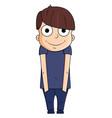 Cute cartoon boy with happy emotions