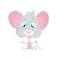 cute grey mouse eats stock vector image vector image
