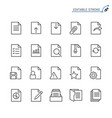 document line icons editable stroke vector image vector image