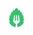 eco fork leaf symbol leaf shape with a fork vector image vector image