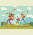 family hiking nature vector image
