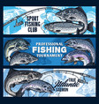 fishing rod with salmon fish fisherman tournament vector image vector image