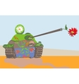 Funnily decorated tank vector image