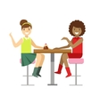 Girlfriends Chatting Sharing A Cake Smiling vector image vector image