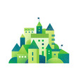 green city with buildings and towers and trees vector image