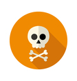 Halloween skull flat circle icon vector image