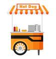 hot dog street cart vector image vector image