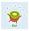 kiwi fruit vitamins and minerals funny fruit vector image vector image