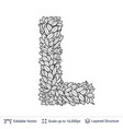 letter l symbol of white leaves vector image
