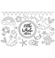 little whale unicorn set coloring book page for vector image