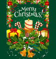 merry christmas holiday wish greeting card vector image
