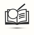 open book with magnifying glass icon vector image vector image