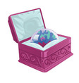 pink chest with treasure ball vector image