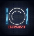plate with fork and knife neon sign restaurant vector image vector image