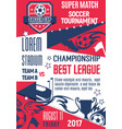 poster for football or soccer league game vector image vector image