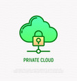private cloud thin line icon locked cloud vector image vector image
