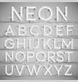realistic neon alphabet with wires off vector image vector image