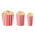 realistic popcorn buckets 3d multiple sizes paper vector image vector image