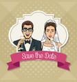 save the date pop art cartoon internet security vector image vector image