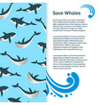 save whales banner design vector image