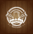 sawmill label with wood stump and saw emblem for vector image vector image