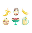 set different banana desserts vector image vector image