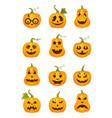 set halloween pumpkins vector image